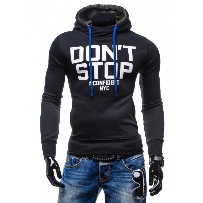 efc5a3d7d473 Pánske značkové mikiny s nápisom DON´T STOP čiernej farby s kapucňou ...