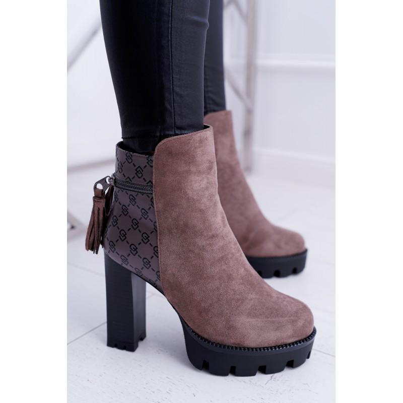Hnedé vysoké dámske zimné topánky so zipsom 4ec537ba075