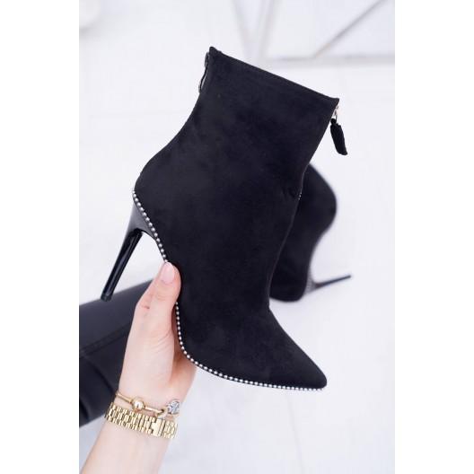 Dámske semišové čierne topánky so zapínaním na zips