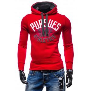 Moderné pánske mikiny za akciové ceny červenej farby s  nápismi a kapucňou