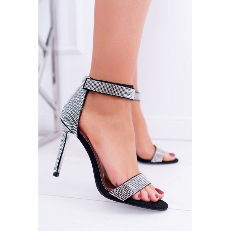 456e62e4ef55 Čierne dámske sandále na vysokom podpätku