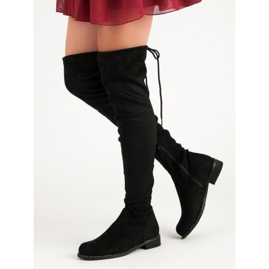Dámske semišové čierne čižmy nad kolená
