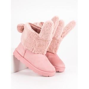 Originálne ružové snehule s odnímateľnou kožušinou s dizajnom zajaca