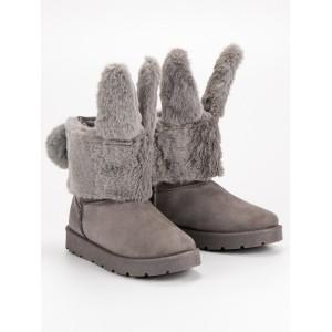 Dizajnové sivé dámske snehule s odnímateľnou kožušinou zajaca