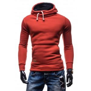 Moderné pánske mikiny pre chlapov červenej farby s kapucňou a hrubými šnúrkami