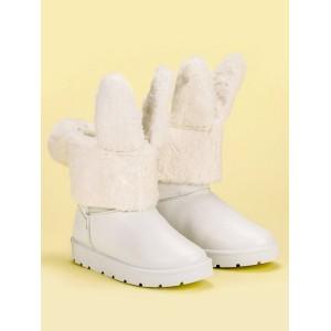 Biele dámske snehule s odnímateľnou kožušinou s dizajnom zajaca