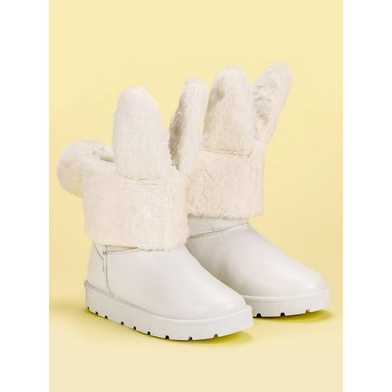 122a434d2c16 Biele dámske snehule s odnímateľnou kožušinou s dizajnom zajaca