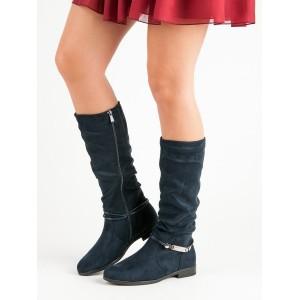 Zateplené dámske čižmy pod kolená v modrej farbe