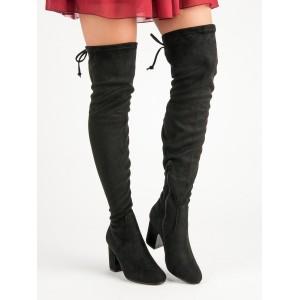 Vysoké dámske čižmy v čiernej farbe bez zateplenia