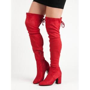 Červené dámske čižmy na vysokom podpätku