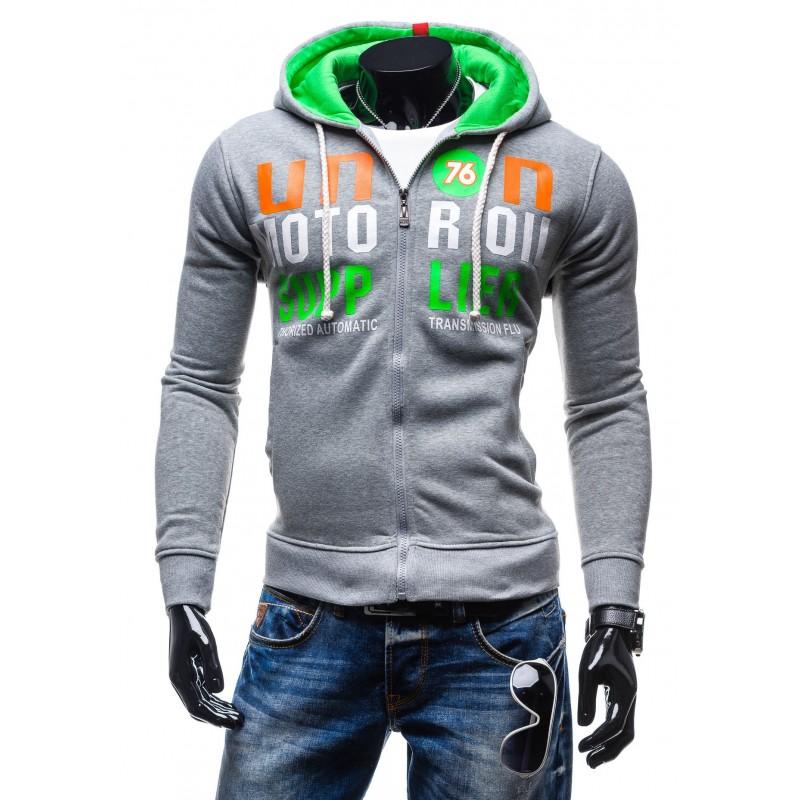 Pánske mikiny na zips sivej farby s nápisom a kapucňou - fashionday.eu 390c63bbc59
