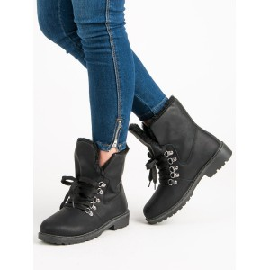 Dámske čierne členkové topánky na zimu v štýle workerov