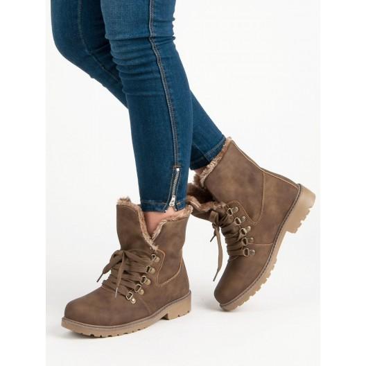 Hnedé členkové topánky s kožušinou a s originálnym šnurovaním