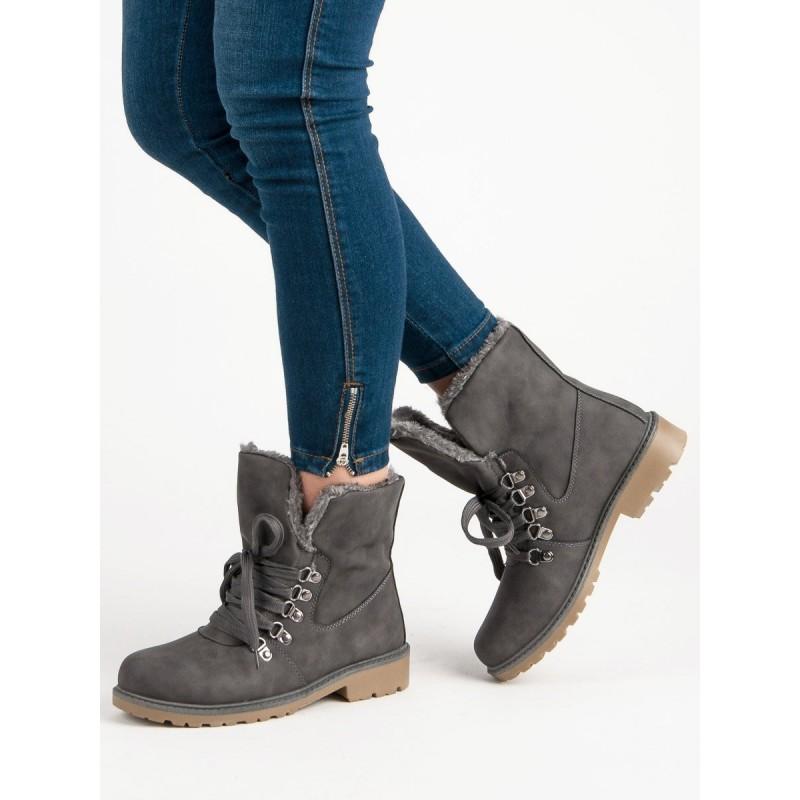 Štýlové dámske sivé členkové topánky s kožušinou a módnym šnurovaním 0bbdcb141ef
