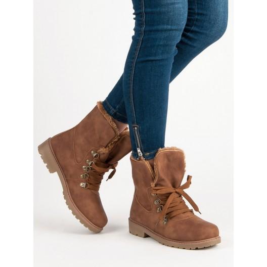Dámske zimné škoricové kotníkové topánky na šnurovanie s kožušinou