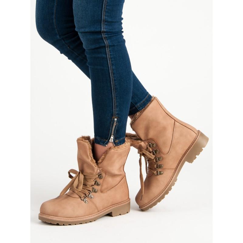 b5aa42bad52d Originálne dámske ružové členkové topánky na šnurovanie a s kožušinou
