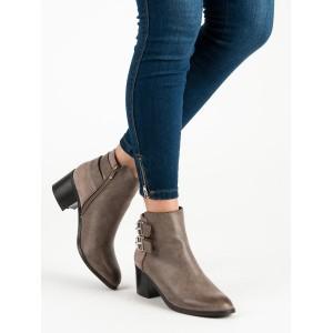 Béžové dámske členkové topánky na hrubom opätku s trendy prackami