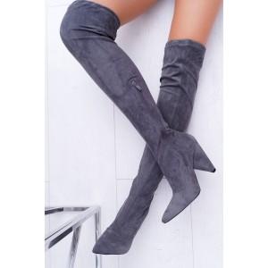 Elegantné dámske sivé čižmy nad kolená na vysokom opätku