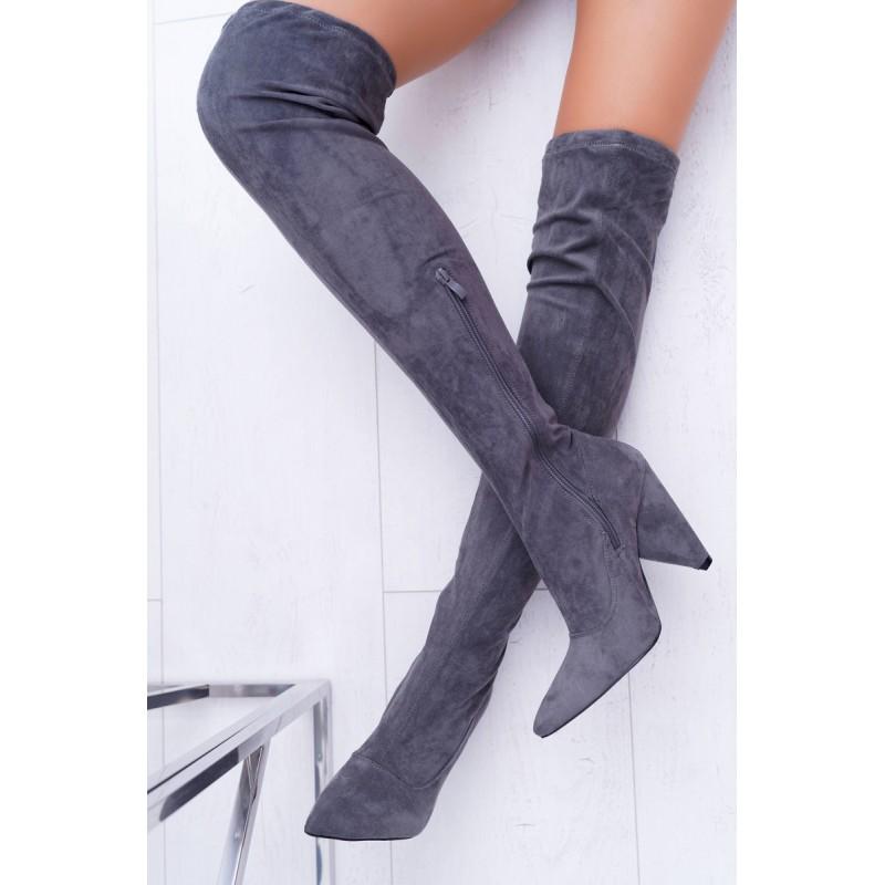 d82197c108a4 Elegantné dámske sivé čižmy nad kolená na vysokom opätku