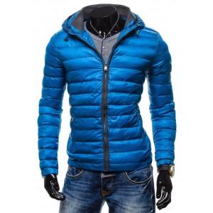Modré zimné pánske bundy so zipsom a kapucňou