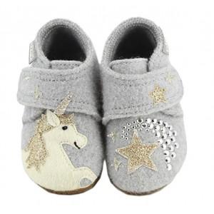 Detské papuče v sivej farbe s motívom koňa