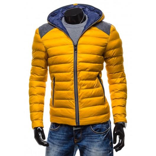 Moderné zimné bundy žltej farby so zipsom a kapucňou