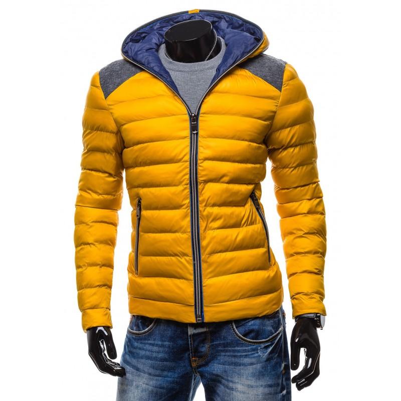 Predchádzajúci. Moderné zimné bundy žltej farby so zipsom a kapucňou ... f6f5ca490c3