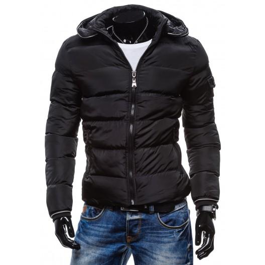 Štýlové pánske zimné bundy čiernej farby