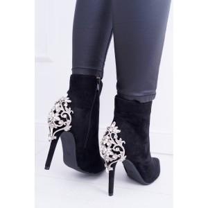 Luxusné dámske čierne kotníkové topánky na vysokom opätku so štrásom