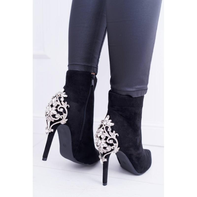 1591c54eb3fe Luxusné dámske čierne kotníkové topánky na vysokom opätku so štrásom