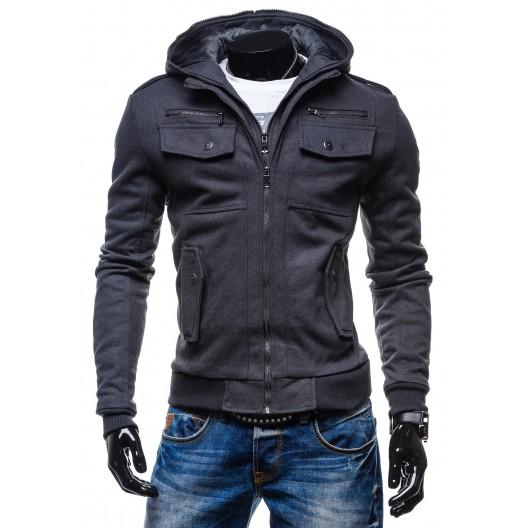Elegantné pánske bundy šedej farby s dvojitým zapínaním na zips s kapucňou