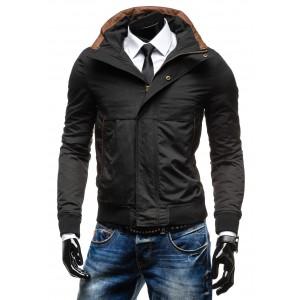 Moderné pánske bundy na zimu čiernej farby na zips