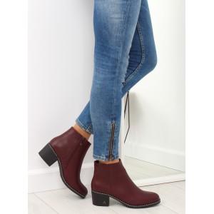 Bordové dámske zimné členkové topánky na hrubom opätku a kamienkami