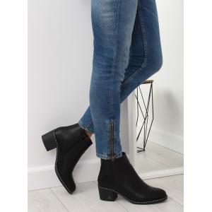 Dámske čierne kotníkové topánky zimné s bočným zipsom a na opätku