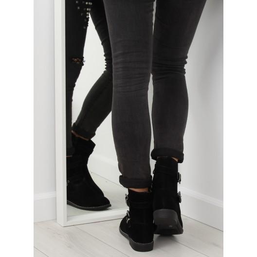 Dámske zimné čierne členkové topánky s prackami a kamienkami v leme