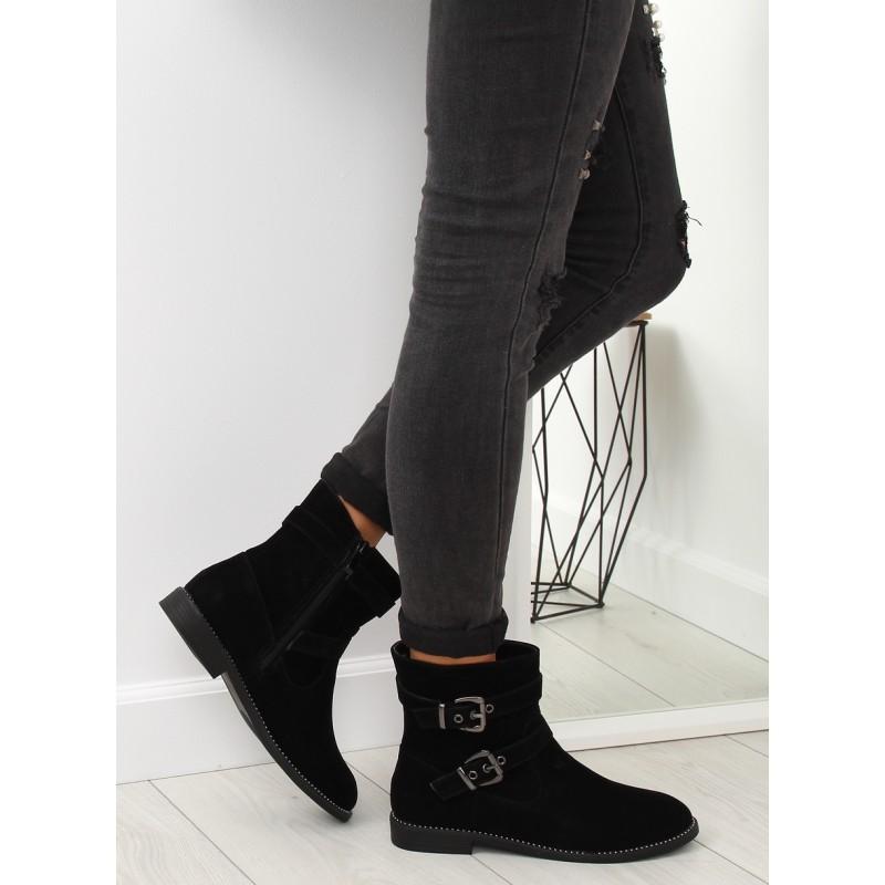 9bafcecb38 Dámske zimné čierne členkové topánky s prackami a kamienkami v leme
