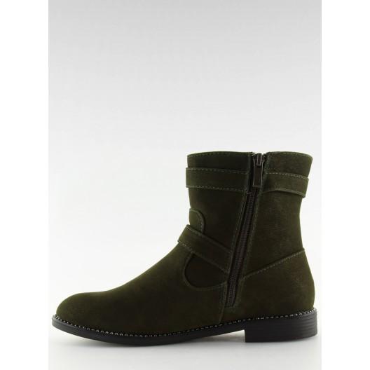 Trendy zelené zimné členkové topánky s bočným zipsom a prackami