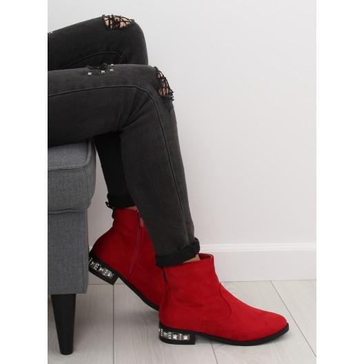 Štýlové červené členkové čižmy s bočným zipsom a štrásovým opätkom