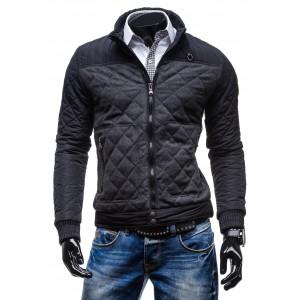 Kvalitná pánska bunda od renomovaného výrobcu čiernej farby s kockovaným vzorom