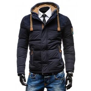 Pánske zimné bundy granátovej farby so štýlovou kapucňou