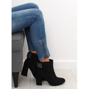 Čierne kotníkové čižmy na módnom opätku a s ozdobnou mašľou
