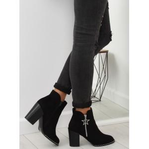 Čierne dámske semišové kotníkové čižmy s ozdobným lemom a zipsom