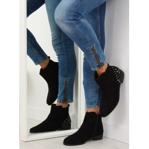 Čierne členkové nízke topánky na zimu s bočným zipsom a kamienkami