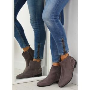 Nízke kotníkové sivé topánky s bočným zipsom a ozdobným vybíjaním
