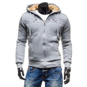 Pánska zimná bunda sivej farby s vlnou vo vnútri a s kapucňou