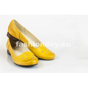 Dámske kožené balerínky žlté DT035