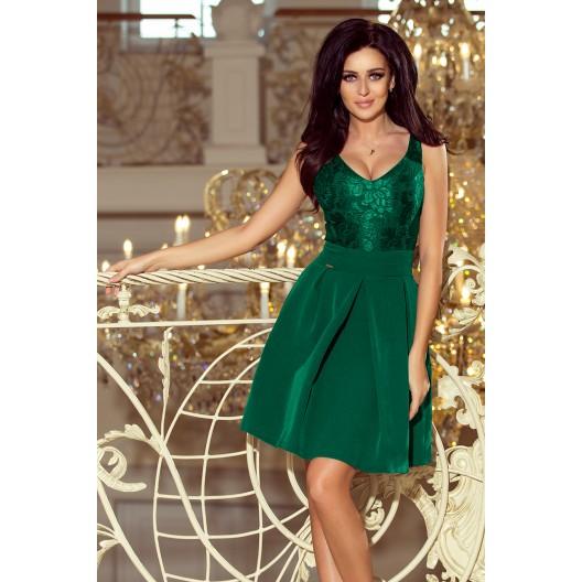 Spoločenské čipkované šaty zelenej farby na ples