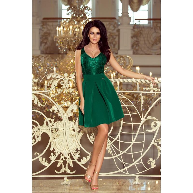 9ced00dfc7f2 Spoločenské čipkované šaty zelenej farby na ples