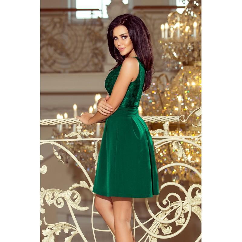 Spoločenské čipkované šaty zelenej farby na ples 475e118eee2