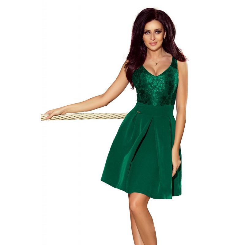 22b8da6f64c Spoločenské čipkované šaty zelenej farby na ples